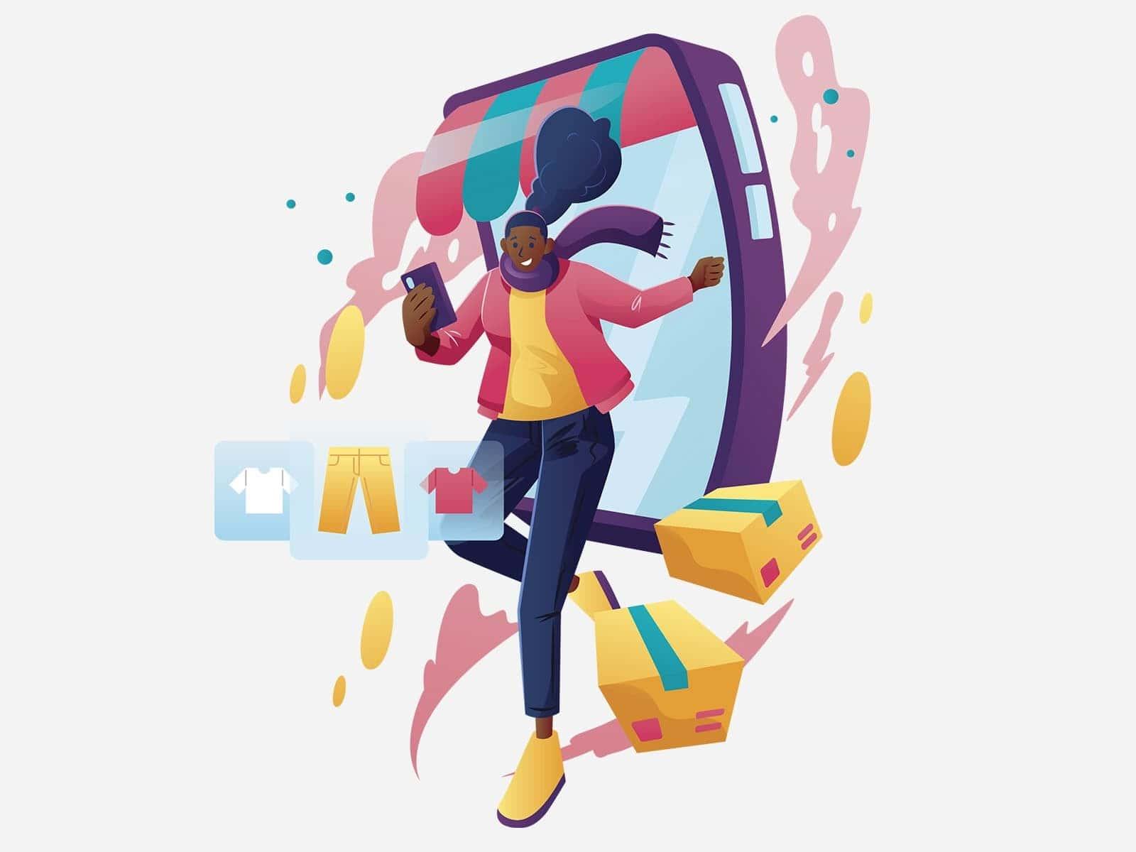 Illustrazione rappresentante ragazza che esce dallo schermo di uno smartphone
